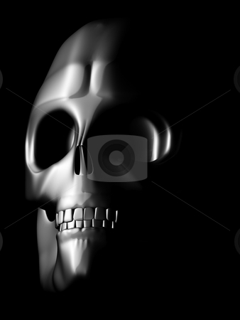 Perspective view of coated skull stock photo, Coated iron skull model in the dark by danielboom