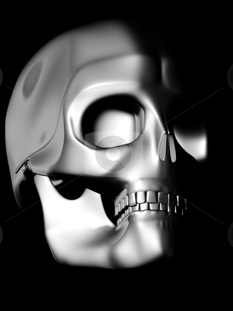 Perspective view of chrome skull stock photo, Chrome skull model sign by danielboom