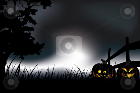 Halloween night stock vector clipart, Halloween pumpkin at night Abstract holiday background illustration by Vadym Nechyporenko
