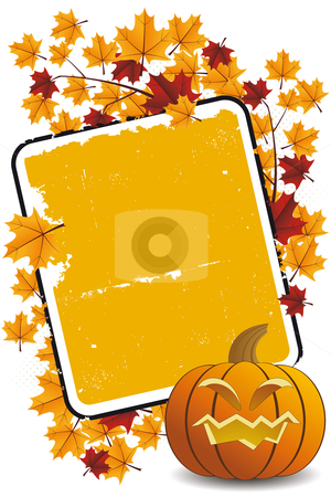 Halloween pumpkin with leafs and frame stock vector clipart, Halloween pumpkin with leafsand frame holiday background illustration by Vadym Nechyporenko