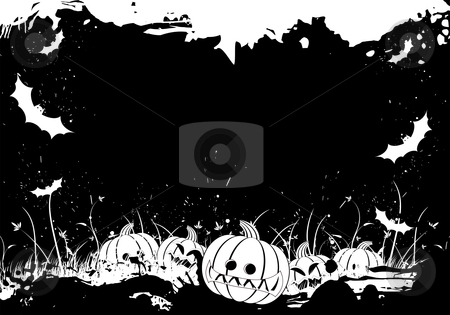 Grunge Halloween border stock vector clipart, Grunge Halloween border with grass pumpkin and bat by Vadym Nechyporenko