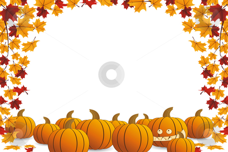 Halloween frame stock vector clipart, Halloween frame with pumpkin and falling maple leaves by Vadym Nechyporenko