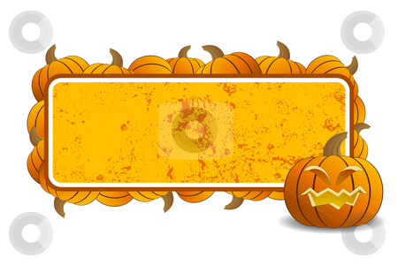 Halloween frame stock vector clipart, Abstract halloween frame with pumpkin vector illustration by Vadym Nechyporenko