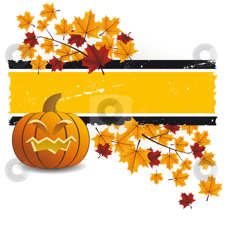 Halloween pumpkin with leafs stock vector clipart, Halloween pumpkin with leafs holiday background illustration by Vadym Nechyporenko