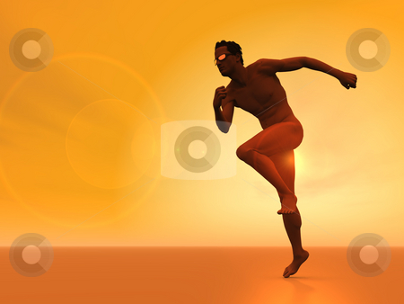 Runner stock photo, Runner with sun glasses - 3d illustration by J?