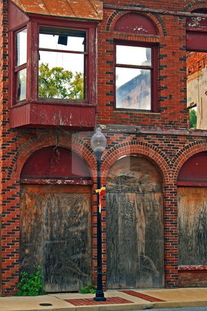 Old abandoned building stock photo, Old building burned down and left abandoned by Jack Schiffer