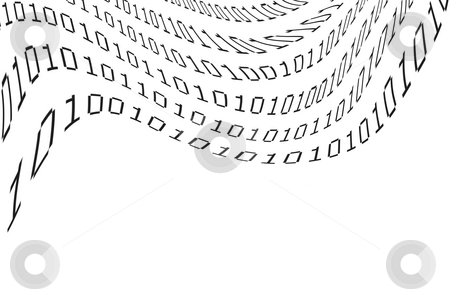 Binary coding stock photo, Computer binary coding on white. Copy space by Les Cunliffe