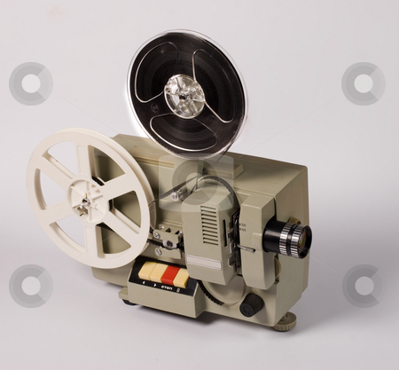 Film projector stock photo, Object series: old film projector over whitr by Gennady Kravetsky