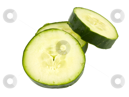 Cucumber Slices stock photo, Green Cucumber sliced on a white background by John Teeter