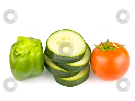 Fruit and Veggies stock photo, Fruit and vegetables arranged on a white background by John Teeter