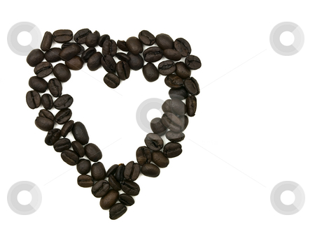 Coffee Bean Heart stock photo, Coffee Bean Heart on a white background by John Teeter