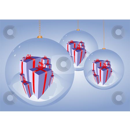 Christmas Ornament stock vector clipart, Christmas ornaments reflecting presents with blue background by Ira J Lyles Jr