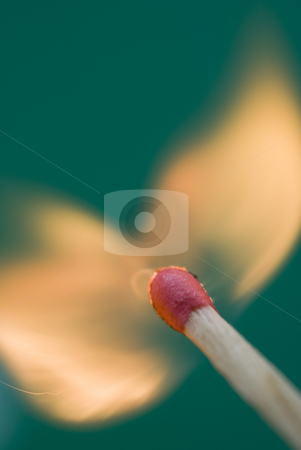 Burning match stock photo, Flames erupting from a match head just after being struck by Stephen Gibson