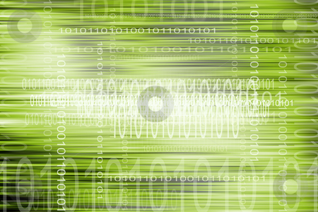 Coding stock photo, Binary codes on green tone abstract background by Les Cunliffe