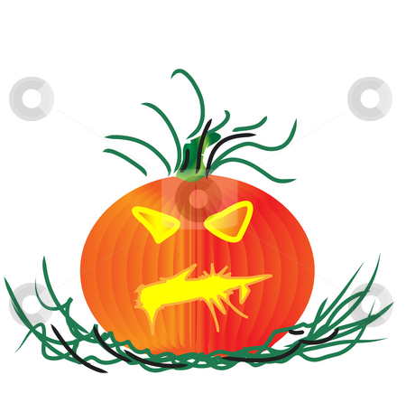 Pumpkin halloween stock photo, A halloween pumpkin with green stem and leaves by Stephen Clarke