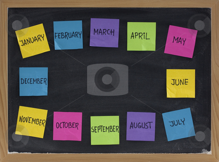 Twelve months on blackboard stock photo, Twelve months around copy space on blackboard represented with sticky notes by Marek Uliasz