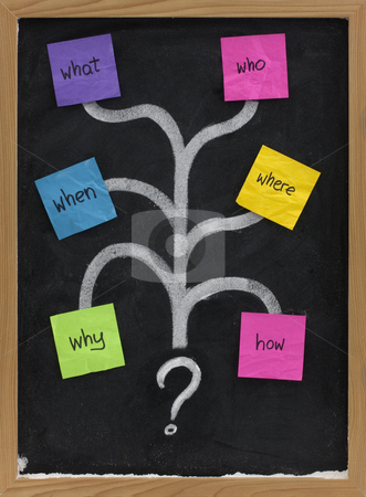 What, who, when, where, why, how questions stock photo, Mind map with questions, decision tree or brainstorming concept presented with sticky notes and white chalk on blackboard by Marek Uliasz