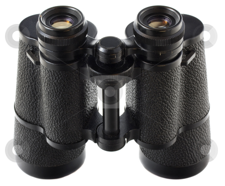 Old binoculars  stock photo, Old German binoculars with some scratches  isolated on white, focus on top by Marek Uliasz