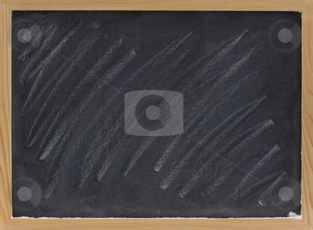 Blank blackboard with chalk smudges stock photo, Small blank blackboard with with white chalk dust and smudges by Marek Uliasz