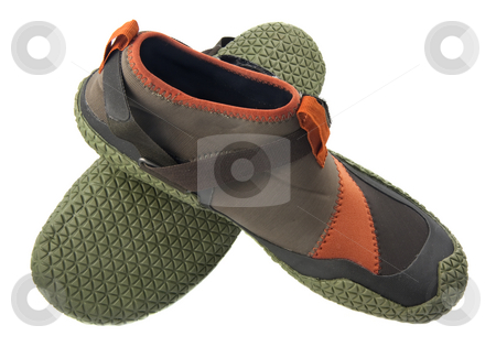 Water shoes for kayaking stock photo, Lightweight low-profile water shoes for kayaking and other wet sports, neoprene with rubber soles, isolated on white by Marek Uliasz
