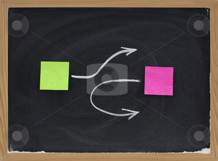 Avoiding collision or confrontation  stock photo, Avoiding collision or confrontation concept presented on blackboard with sticky notes and white chalk by Marek Uliasz
