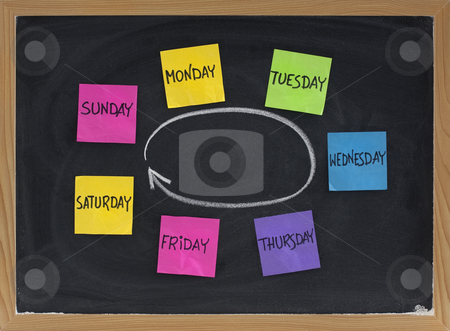 Days of week on blackboard stock photo, Days of week presented as a cycle with colorful sticky notes and white chalk on blackboard by Marek Uliasz