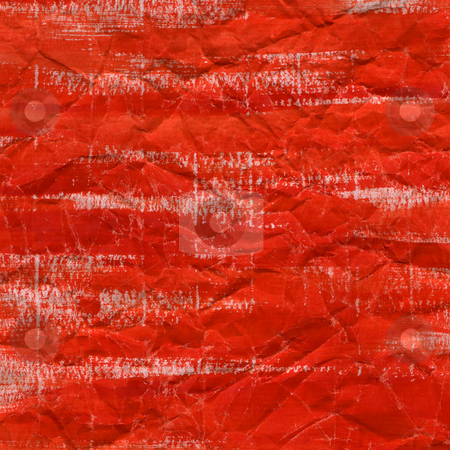 Red watercolor background on crumpled paper stock photo, Red watercolor background on crumpled paper with white creases and lines by Marek Uliasz