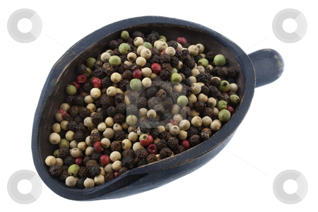 Scoop of colorful rainbow peppercorns stock photo, Mix of four premium peppers - Tellicherry Black, Madagascar Green, Malaysian White and East Indian Pink on a rustic wooden scoop, isolated on white by Marek Uliasz