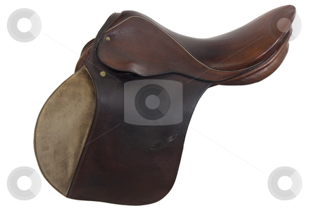 Used horse saddle, English style stock photo, Well used, English style, horse saddle, isolated on white, clipping path included, brown leather with gold trim by Marek Uliasz