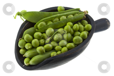 Scoop of green pea stock photo, Green pea fresh from garden on a rustic wooden scoop isolated on white by Marek Uliasz