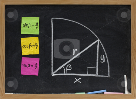 Trigonometric functions definition on blackboard stock photo, Definition of trigonometric functions (sine, cosine, tangent) presented with color sticky notes and white chalk sketch on blackboard by Marek Uliasz