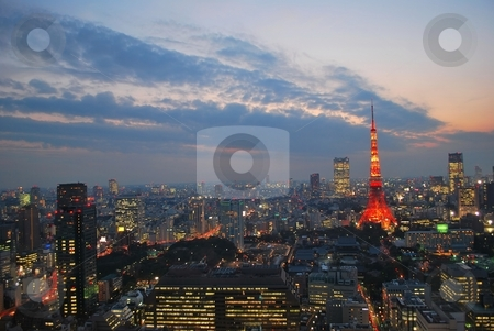Cityscape view of metropolitan Tokyo city at dusk stock photo, Evening view of metropolitan Tokyo city, a city that never sleeps. by Wai Chung Tang