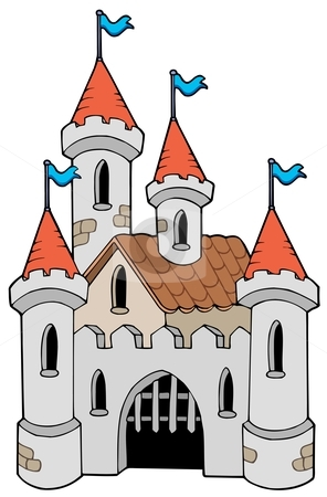 Old castle stock vector clipart, Old castle on white background - vector illustration. by Klara Viskova