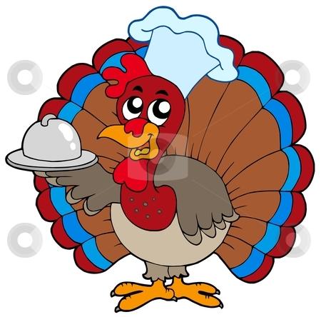 Turkey chef stock vector clipart, Turkey chef on white background - vector illustration. by Klara Viskova