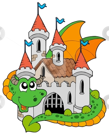 Dragon with old castle stock vector clipart, Dragon with old castle - vector illustration. by Klara Viskova
