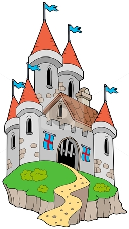 Spectacular medieval castle on hill stock vector clipart, Spectacular medieval castle on hill - vector illustration. by Klara Viskova