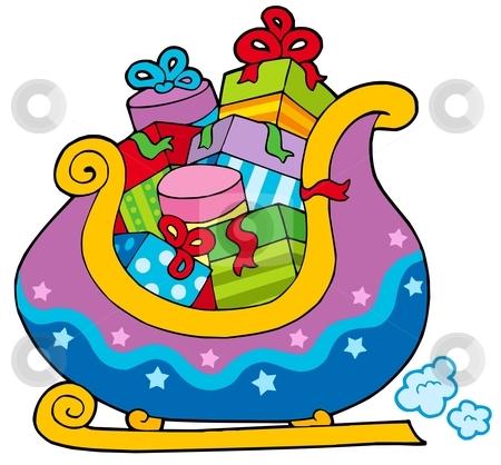 Christmas sledge full of gifts stock vector clipart, Christmas sledge full of gifts - vector illustration. by Klara Viskova