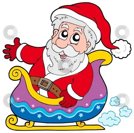 Santa Claus on sledge stock vector clipart, Santa Claus on sledge - vector illustration. by Klara Viskova