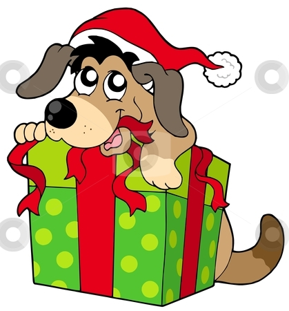 Cute dog in Santas hat stock vector clipart, Cute dog in Santas hat - vector illustration. by Klara Viskova