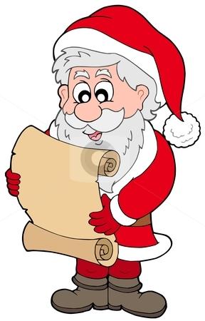 Santa Claus reading parchment stock vector clipart, Santa Claus reading parchment - vector illustration. by Klara Viskova