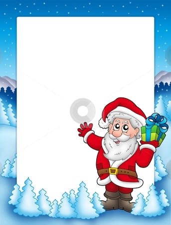 Frame with Santa and Christmas gift stock photo, Frame with Santa and Christmas gift - color illustration. by Klara Viskova