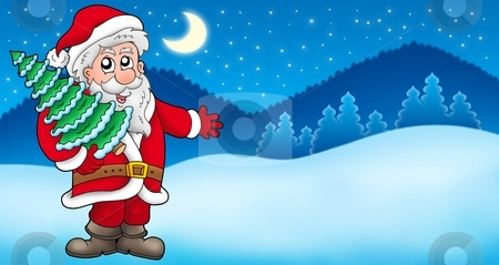 Landscape with Santa Claus 5 stock photo, Landscape with Santa Claus 5 - color illustration. by Klara Viskova