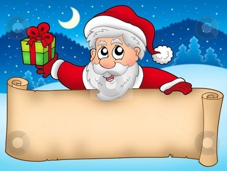 Banner with cute Santa Claus stock photo, Banner with cute Santa Claus - color illustration. by Klara Viskova