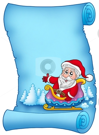 Blue parchment with Santa on sledge stock photo, Blue parchment with Santa on sledge - color illustration. by Klara Viskova