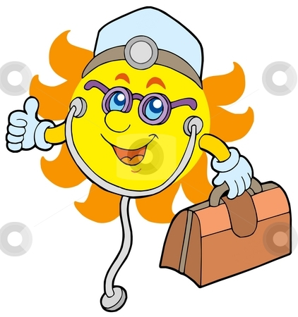 Sun doctor stock photo, Sun doctor on white background - color illustration. by Klara Viskova