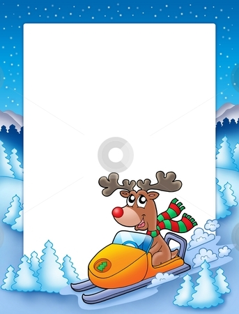 Frame with reindeer riding scooter stock photo, Frame with reindeer riding scooter - color illustration. by Klara Viskova