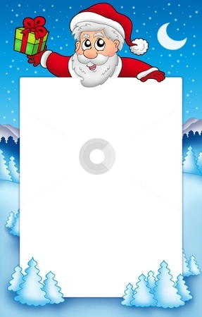 Christmas frame with Santa Claus 5 stock photo, Christmas frame with Santa Claus 5 - color illustration. by Klara Viskova