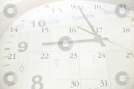Time and calendar      stock photo, Clock pointing to nine. Calendar numbers. by Les Cunliffe