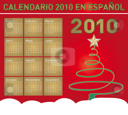 Christmas Calendar 2010 in Spanish stock vector clipart, Christmas themed 2010 Calendar in vector format. In Spanish by Germán Ariel Berra