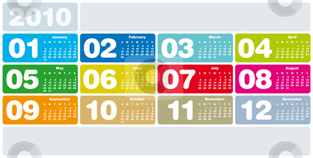 Colorful Calendar for 2010 stock vector clipart, Colorful Calendar for year 2010 in vector format by Germán Ariel Berra